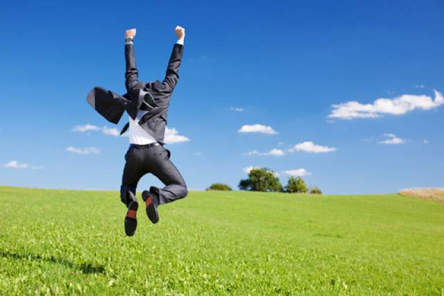 man happy jumping for joy after having reclaim his manhood with juicing