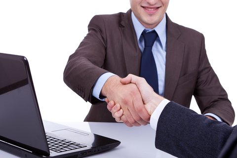 handshake during a promotion